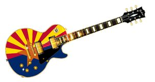 Arizona Flag Guitar. The definitive rock and roll guitar with the Arizona flag seal flag isolated over a white background Stock Image