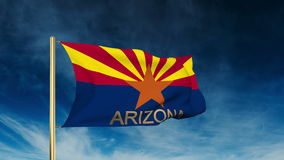 Arizona flag slider style with title. Waving in stock video
