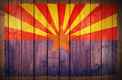 Arizona Flag Wood Background. Arizona State Flag Painted on Wooden Wall royalty free stock photos
