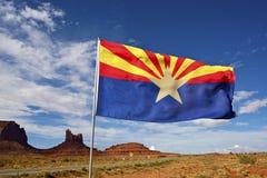 Arizona flaga na wiatrze Obrazy Stock