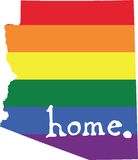 Arizona gay pride vector state sign. LGBT community pride vector U.S. state decal: easy-edit layered vector EPS10 file scalable to any size without quality loss royalty free illustration