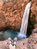 Turquoise Mooney Falls Waterfall in the Grand Canyon stock photo