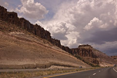Arizona Highway. This is a view of Highway 40 just outside of Kingman with a storm brewing Royalty Free Stock Photography