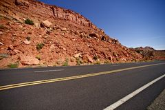 Arizona Highway. With Raw Sandstones Landscape - Somewhere in Arizona Royalty Free Stock Photos