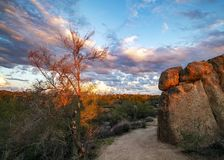 Cool Arizona hiking trail at sunset in North Scottsdale. Arizona hiking & mountain biking trail at sunset in North Scottsdale area royalty free stock photography
