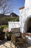 Arizona home with outdoor fireplace patio Stock Photos