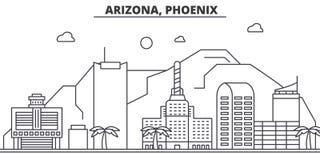 Arizona, línea ejemplo de la arquitectura de Phoenix del horizonte Paisaje urbano linear con las señales famosas, vistas del vect ilustración del vector