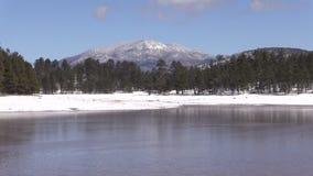 Arizona Lake in Winter Zoom In stock footage