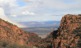Arizona/Landscape: View into Verde River Valley - with Rainbow Royalty Free Stock Photography
