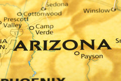 Arizona on map. Closeup of Arizona on a political map of the United States royalty free stock image