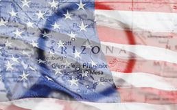 Arizona. Map Phoenix USA Journey Magnifying Glass Cartography Stock Photography