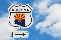 Arizona map and state flag on a USA highway road sign. With sky background royalty free stock photography