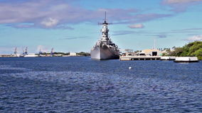 Arizona memorial Battleship Missouri. Battleship Missouri Memorial view from USS Arizona BB 39 Memorial at Pearl Harbor. National historic landmark. Patriotic stock video
