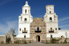 Arizona Mission. Image of front of the San Xavier del Bac Mission.  This Spanish mission built in 1757 is located 9 miles south of Tucson, AZ Stock Photography