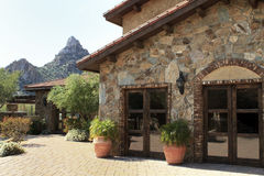 Arizona mountainside villa home and courtyard royalty free stock image