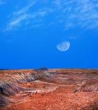Arizona Petrified Forest and Moon Royalty Free Stock Photo