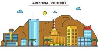 Arizona, Phoenix tła miasta projekta linia horyzontu wektor twój Zdjęcie Stock