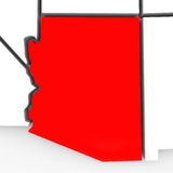 Arizona Red Abstract 3D State Map United States America. A red abstract state map of Arizona, a 3D render symbolizing targeting the state to find its outlines Stock Photo