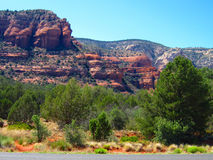 Arizona Red Rocks Of Sedona. Cliff face view of Sedona with trees in afternoon Royalty Free Stock Image