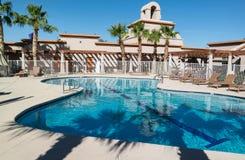 Arizona resort pool. Southwest USA resort pool, sunshine and Palm Trees Royalty Free Stock Photos