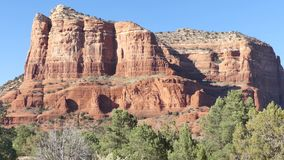 Arizona, Sedona, A pan across the Castle Rock with trees and desert landscape
