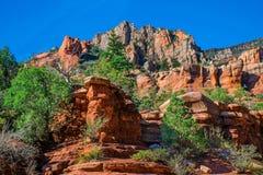 Arizona, Sedona, SlideRock-het park van de staat, de Eiken vormingen van de Kreekrots en bergrand stock foto