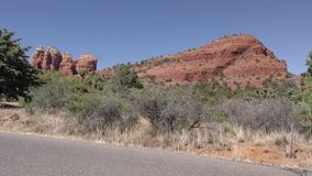 Arizona, Sedona, A view of Coffeepot Rock on the left and Sugarloaf Mountain on the right