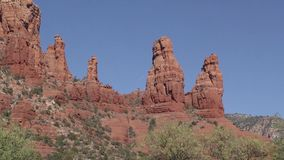 Arizona, Sedona, A zoom in on The Two Nuns just east of the Chapel of the Holy Cross stock footage