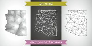 Arizona set of grey and silver mosaic 3d polygonal maps Stock Photo
