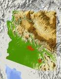 Arizona, shaded relief map Stock Photography