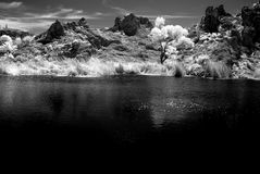 Sonora desert Pond in Infrared monochrome. Arizona Sonora desert Pond in Infrared black and white royalty free stock photography