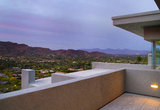Arizona Southwest Home Backyard Patio Deck. Beautiful modern Arizona home backyard patio deck with a view of the mountains at dusk stock images