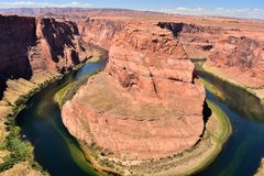 Colorado river around Horseshoe Bend. Arizona is a southwestern U.S. state. is best know the Grand Canyon, Lake Powell, Horseshoe Bend, Flagstaff, Page, National Stock Photo