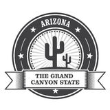 Arizona stanu round znaczek z kaktusem Obrazy Royalty Free