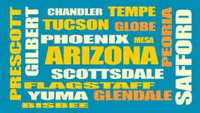 Arizona state cities list Royalty Free Stock Photo
