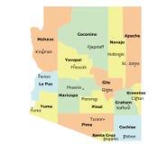 Arizona state. Arizona County Map with 15 counties, county seats stock illustration