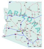 Arizona State Interstate Map. Arizona state road map with Interstates, U.S. Highways and state roads. All elements on separate layers for easy editing Royalty Free Stock Photo