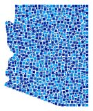 Arizona State Map Collage of Pixels. Arizona State map collage of scattered filled squares in different sizes and blue shades. Vector square dots are grouped Stock Images