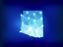 Arizona state map polygonal with spotlights places Royalty Free Stock Images