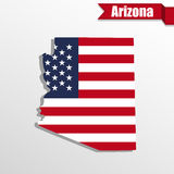 Arizona State map with US flag inside and ribbon Royalty Free Stock Images