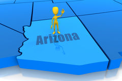 Arizona state outline with yellow stick figure Stock Images
