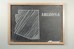 Arizona State. Outlined Arizona US state on grade school chalkboard royalty free stock image