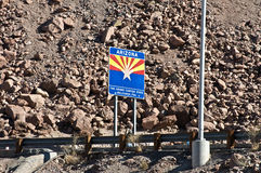 Arizona State sign. At Hoover Dam Royalty Free Stock Images