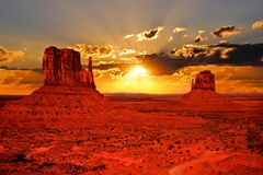 Arizona sunrise. Beautiful sunrise over iconic Monument Valley, Arizona, USA Stock Image