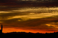 Arizona at Sunset. Santan Mountains (near Florence, Arizona) as the sun sets stock photo