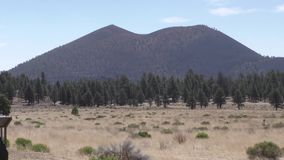 Arizona, Sunset Crater, A zoom in to Sunset Crater with trees, grass and bushes