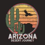 Arizona t-shirt typography with cactus, mountain and eagle. Vintage print for tee shirt graphics, slogan - desert journey. Vector. Arizona t-shirt typography vector illustration