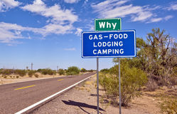 The Arizona Town that poses a Question Royalty Free Stock Photos