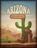 Arizona travel retro vector poster. Banner with green cactus illustration Stock Image