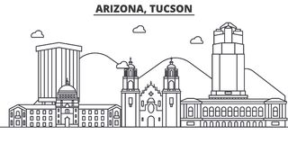 Arizona Tucson architektury linii linii horyzontu ilustracja Liniowy wektorowy pejzaż miejski z sławnymi punktami zwrotnymi, mias Zdjęcia Royalty Free